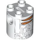 LEGO Round Brick 2 x 2 x 2 with Gray, Black, and Orange R2-D2 Snowman Pattern (Undetermined) (74424)