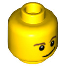 LEGO Minifigure Head with Brown Eyebrows and Lopsided Smile and Black Dimple (Safety Stud) (14807 / 19546)
